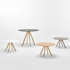 Designed by Christophe Pillet, STIKS is a collection of versatile tables with an essential and elegant aesthetic. The refined design and original section of the solid wood legs gives these tables a sturdy structure with a warm and natural aesthetic, allowing them to integrate into the most diverse settings and contexts, both in the home and in corporate or public environments. The tables are available in different sizes. The legs are made from oak wood and are available in two heights.