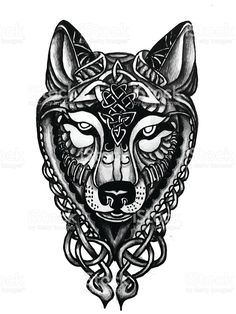 Hand drawn Celtic Wolf head for tattoo royalty-free stock vector art