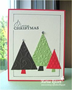 Simple idea - could use scrapbook paper instead -WRM - Color Dare 80 by whiterockmama - Cards and Paper Crafts at Splitcoaststampers Homemade Christmas Cards, Christmas Cards To Make, Xmas Cards, Homemade Cards, Handmade Christmas, Holiday Cards, Christmas Trees, Simple Christmas, Christmas Ornament