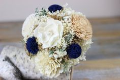 Sola Flower Bridesmaids Bouquet, Keepsake Bouquet, Alternative Wedding Flowers, Navy,Tan, Ivory, Tallow berries bouquet, Woodland Wedding, Rustic Wedding, Romantic Wedding, By Carolina Designs.
