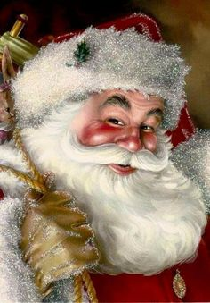 Good old santa clause Vintage Christmas Images, Old Fashioned Christmas, Christmas Scenes, Father Christmas, Santa Christmas, Santa Paintings, Christmas Paintings, Santa Pictures, Christmas Pictures