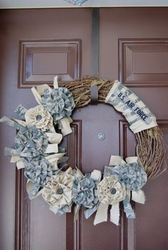 welcome home military wreath | Fabric: Select a fabric Army - Out of stock Air Force Marines - Out of ...