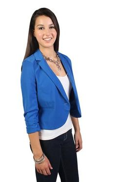 cropped blazer with rouched sleeve and button front from Deb ($22.87)