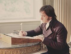 Mr. Darcy writing on a writing slope similar to the one Jane Austen owned. Matthew Macfadyen, Pride and Prejudice 2005