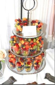Fruit Cups displayed on a tiered plate stand