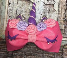 pink/purple unicorn hair bow