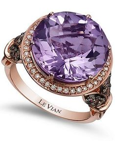 Le Vian Amethyst (8 ct. t.w.) and Diamond (3/4 ct. t.w.) Ring in 14k Rose Gold: