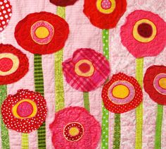 Poppy baby quilt wall art quilt in pinks reds by moonspiritstudios, $200.00