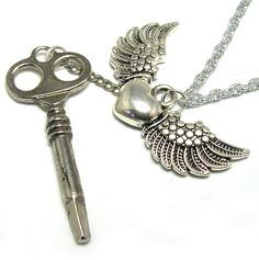 Silver Steampunk Necklace with skeleton key and by LizonesJewelry, $26.50
