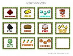 Free Minecraft Printables   Food Labels - CatchMyParty.com