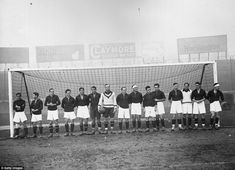 The Spanish national team pose for a photograph in the Stamford Bridge goalmouth during their visit to London in 1931. It wasn't a particularly auspicious trip, as England thrashed them 7-1 in an international staged across town at Highbury