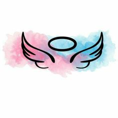 Miscarriage tattoo Design – Angel wings with holy halo and colorful background