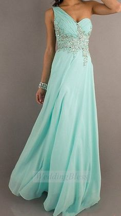 Mint Chiffon Long Prom Dress Aline One Shoulder by WeddingBless, $138.00