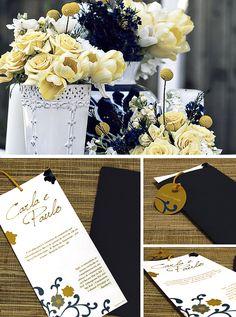 Convite de Casamento Azul e Amarelo.