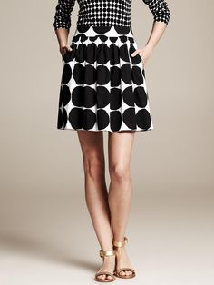 Banana Republic Black Marimekko Collection Kivet Full Skirt