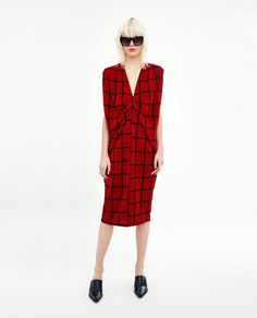 Image 1 of CHECKED DRESS WITH PLEATED SHOULDERS from Zara