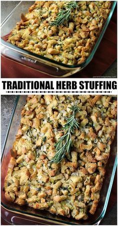 Traditional Herb Stuffing is very easy to make and filled with fresh, flavorful .- Traditional Herb Stuffing is very easy to make and filled with fresh, flavorful herbs. It'll be a hit on any Thanksgiving table! Easy Stuffing Recipe, Stuffing Recipes For Thanksgiving, Vegetarian Thanksgiving, Thanksgiving Appetizers, Thanksgiving Side Dishes, Traditional Thanksgiving Recipes, Christmas Recipes, Homemade Stuffing, Best Turkey Stuffing