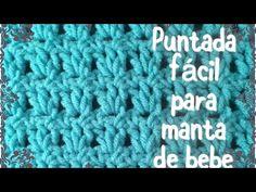 Puntada fácil y rápida para manta de bebe en gancho (para principiantes) #43 - YouTube Knitting Videos, Crochet Videos, Crochet Stitches, Crochet Patterns, Crochet Carpet, Crochet Blouse, Chrochet, Crochet Baby, Diy And Crafts