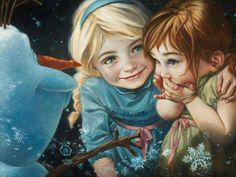 Elsa & Anna with Olaf