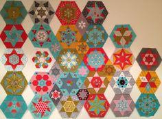 Little Apples Hexagons & Stars so far :: 3 blocks, lots of diamonds to go! | by Lorena in Sydney