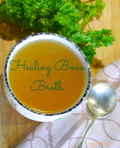 Healing bone broth.. One of the most nutritious and healing foods is an organic bone broth. Simmering bones in excess of 24 hours will produce a broth high in protein, collagen, glycine and minerals including magnesium, calcium, chondroitin sulfate, glucosamine, silicon, phosphorus and many traces of other minerals that your body can readily absorb.