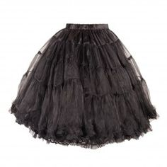 Full Black Skirt with Organza and Lace Tutu Skirt