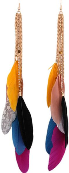 Golden Long Tassel Earrings with Colorful Diamond Feathers