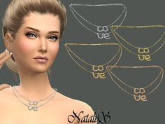 The Sims Resource: LOVE necklace by NataliS • Sims 4 Downloads