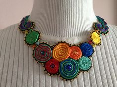 Colored circles soutache necklace inspired by Amee K. Sweet-McNamara