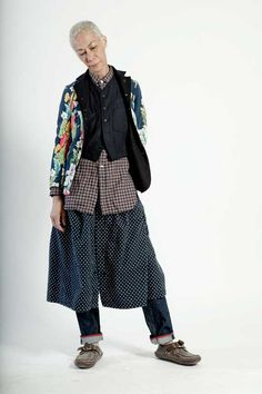 Love the layers and mix patterns Engineered Garments