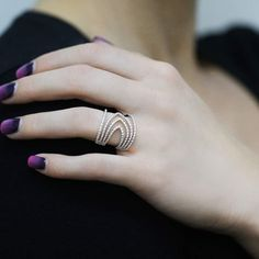 """Swirling"" Diamond Multi Band Ring - Plukka - Shop Fine Jewelry Online"