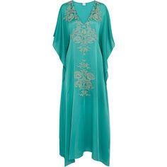 Carine Gilson Florence lace-paneled silk-satin kaftan ($1,210) ❤ liked on Polyvore featuring tops, tunics, turquoise, caftan top, kaftan tunic, drape top, lace insert top and ruffle tunic