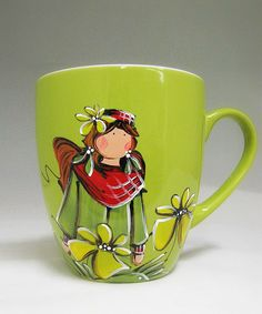 Tasse verte : : Rachelle   *** Produit peint à la main. Painted Mugs, Painted Porcelain, China Painting, Ceramic Painting, Sweet Cup, Alcohol Ink Painting, Coffee Cups, Stained Glass, Tea Pots