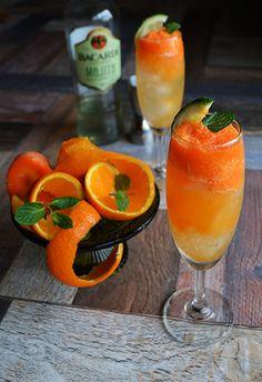 Cocktail 簡単 美活カクテル ベジフルスムージーな黄色のモヒート 人参×みかん×バカルディモヒート|レシピブログ