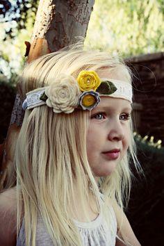 Girls Headband-Felt Flower Headband- Flower Girl Headband. $15.00, via Etsy.