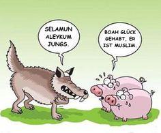 - Selamun Aleykum Jungs.  + Boah Glück gehabt, er ist Muslim.   #karikatur #cool #witzig #humor #fun #lachen #spaß #lustig