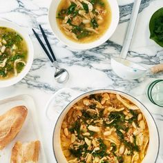 Lemony Chicken Soup With Farro, White Beans, and Kale, use left over chicken or a store bought rotisserie chicken.