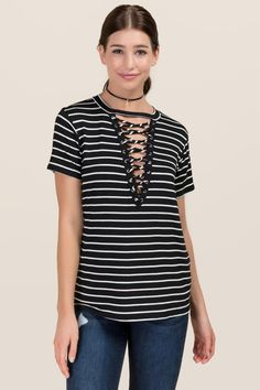 f7347bba039a54 Aislin Striped Extreme Lattice Knit Top Clothes For Sale
