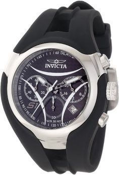 Men's Wrist Watches - Invicta Mens 1606 S1 Nitro Chronograph Black Carbon Fiber Dial Black Polyurethane Watch ** You can find more details by visiting the image link.