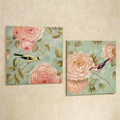 Touch of Class Birds Perched by Flowers Canvas Wall Art Set