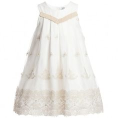 Lesy Ivory and Gold Tulle Knee Length Dress at Childrensalon.com