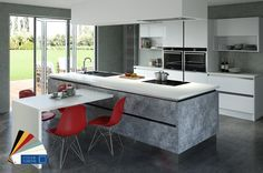 An 'on trend' concrete furniture style. Colour Fusions allows for textures and colour to be mixed to created stunning results. Available with an array of stunning handle choices or for a seamless look why not choose a contemporary handle-less design.  Lunar shown fused with Furore white gloss.  Also available in Bedrooms and LifeSpace furniture