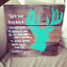 Deer head bible verse sign by LeahJaneDesigns1 on Etsy, $15.00 Very cute!