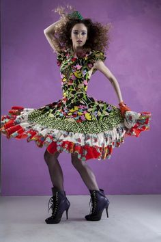 Flamenco dress Fitness Fashion, Harajuku, Captain Hat, Hats, Creative, How To Make, Stuff To Buy, Inspiration, Dresses