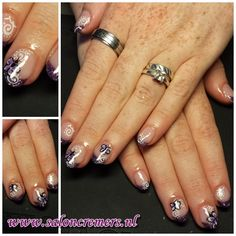 glittery purple French manicure with abstract butterfly nail art