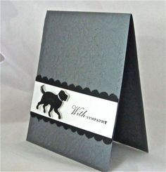 Sympathy/condolence card dog pet stamped handmade blank in grey and black with scallops and embossing. $5.00, via Etsy.