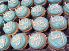 I made these for a baby boy shower <3 them! #boybabyshower #cupcakes #babyshower
