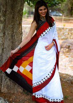 Saree - White Chanderi With Ikat Pallu & Border