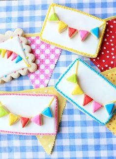 Adorable Rainbow Bunting Cookies. #food #cookies #spring #summer