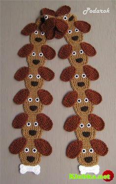 Receita de Crochê Infantil: CACHECOL DE CACHORRINHOS EM CROCHÊ